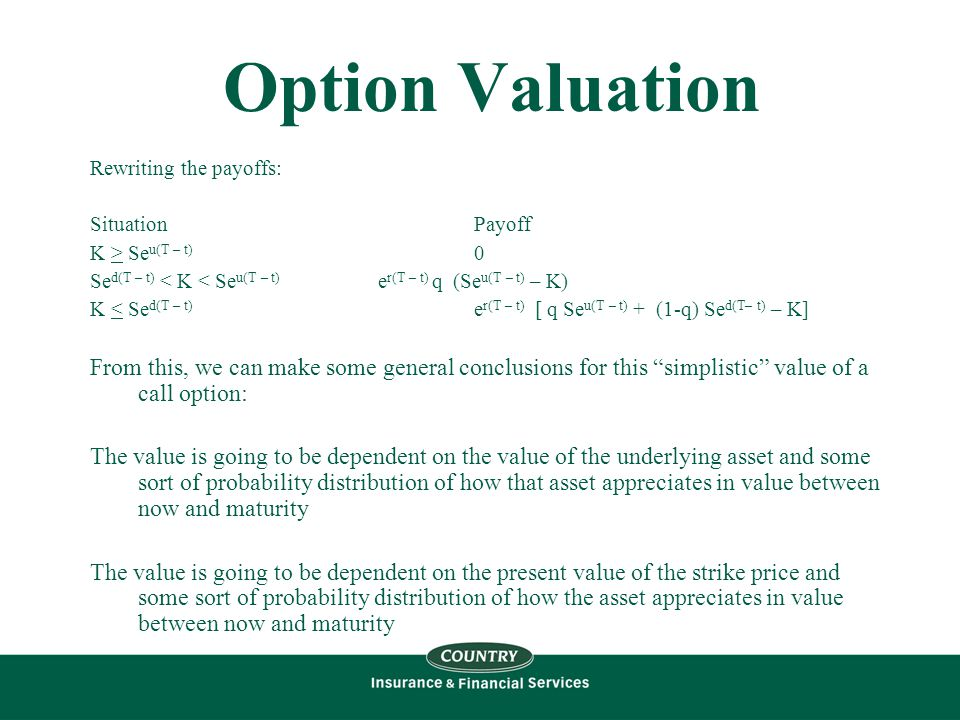 Option Valuation Rewriting the payoffs: SituationPayoff K > Se u(T – t) 0 Se d(T – t) < K < Se u(T – t) e r(T – t) q (Se u(T – t) – K) K < Se d(T – t) e r(T – t) [ q Se u(T – t) + (1-q) Se d(T– t) – K] From this, we can make some general conclusions for this simplistic value of a call option: The value is going to be dependent on the value of the underlying asset and some sort of probability distribution of how that asset appreciates in value between now and maturity The value is going to be dependent on the present value of the strike price and some sort of probability distribution of how the asset appreciates in value between now and maturity