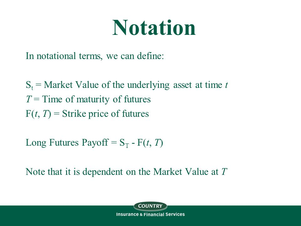 Notation In notational terms, we can define: S t = Market Value of the underlying asset at time t T = Time of maturity of futures F(t, T) = Strike price of futures Long Futures Payoff = S T - F(t, T) Note that it is dependent on the Market Value at T