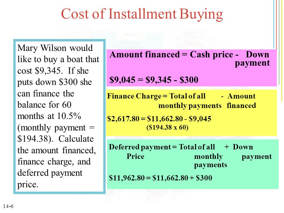 14-6 Cost of Installment Buying Mary Wilson would like to buy a boat that cost $9,345. If she puts down $300 she can finance the balance for 60 months
