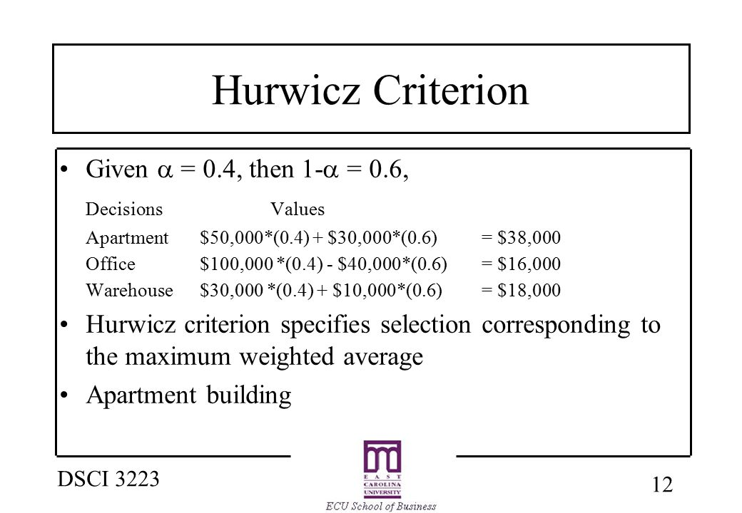 12 DSCI 3223 Hurwicz Criterion Given  = 0.4, then 1-  = 0.6, DecisionsValues Apartment $50,000*(0.4) + $30,000*(0.6) = $38,000 Office$100,000 *(0.4)