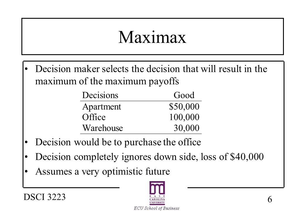 6 DSCI 3223 Maximax Decision maker selects the decision that will result in the maximum of the maximum payoffs Decisions Good Apartment $50,000 Office