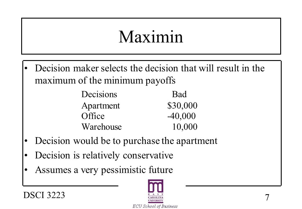 8 DSCI 3223 Minimax Regret Decision maker attempts to avoid regret by selecting the decision alternative that minimizes the maximum regret Select the maximum payoff under each state: –Good ----> $100,000 –Bad ------> 30,000 Regret is then calculated as follows: –Good ----> $100,000 - payoff for each decision –Bad ------> 30,000 - payoff for each decision