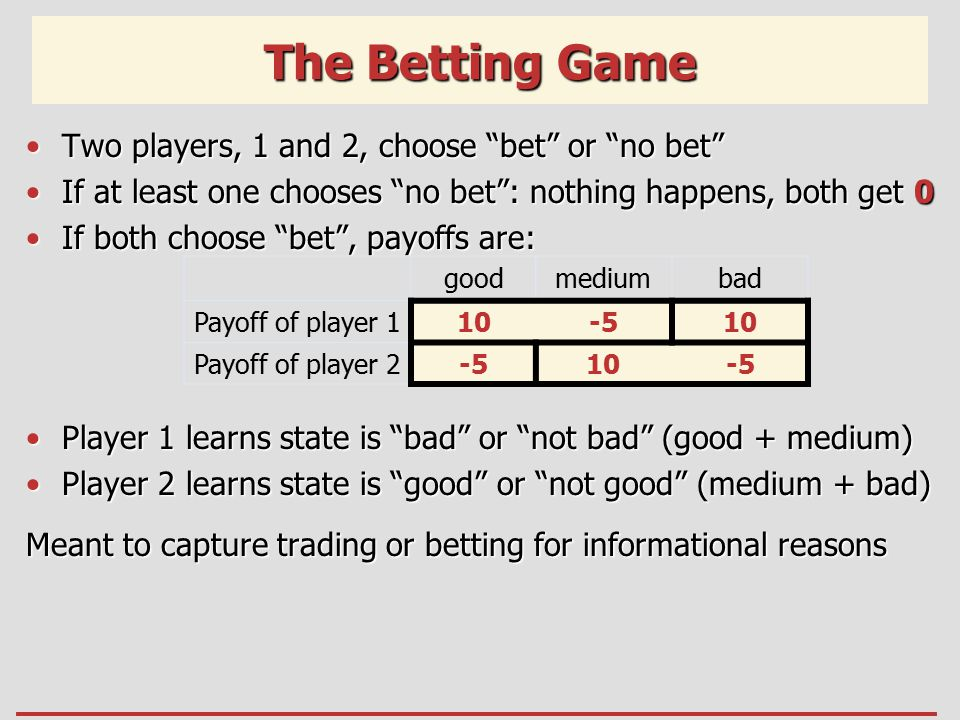 The Betting Game Two players, 1 and 2, choose bet or no bet Two players, 1 and 2, choose bet or no bet If at least one chooses no bet : nothing happens, both get 0If at least one chooses no bet : nothing happens, both get 0 If both choose bet , payoffs are:If both choose bet , payoffs are: Player 1 learns state is bad or not bad (good + medium)Player 1 learns state is bad or not bad (good + medium) Player 2 learns state is good or not good (medium + bad)Player 2 learns state is good or not good (medium + bad) Meant to capture trading or betting for informational reasons goodmediumbad Payoff of player 110-510 Payoff of player 2-510-5