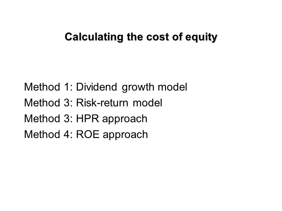 WACC: Calculation WACC = w e (r e ) + w d (i) (1-T) w e = weight of equity in total market value r e = cost of equity w d = weight of debt in total market value i = cost of debt T = corporate tax rate