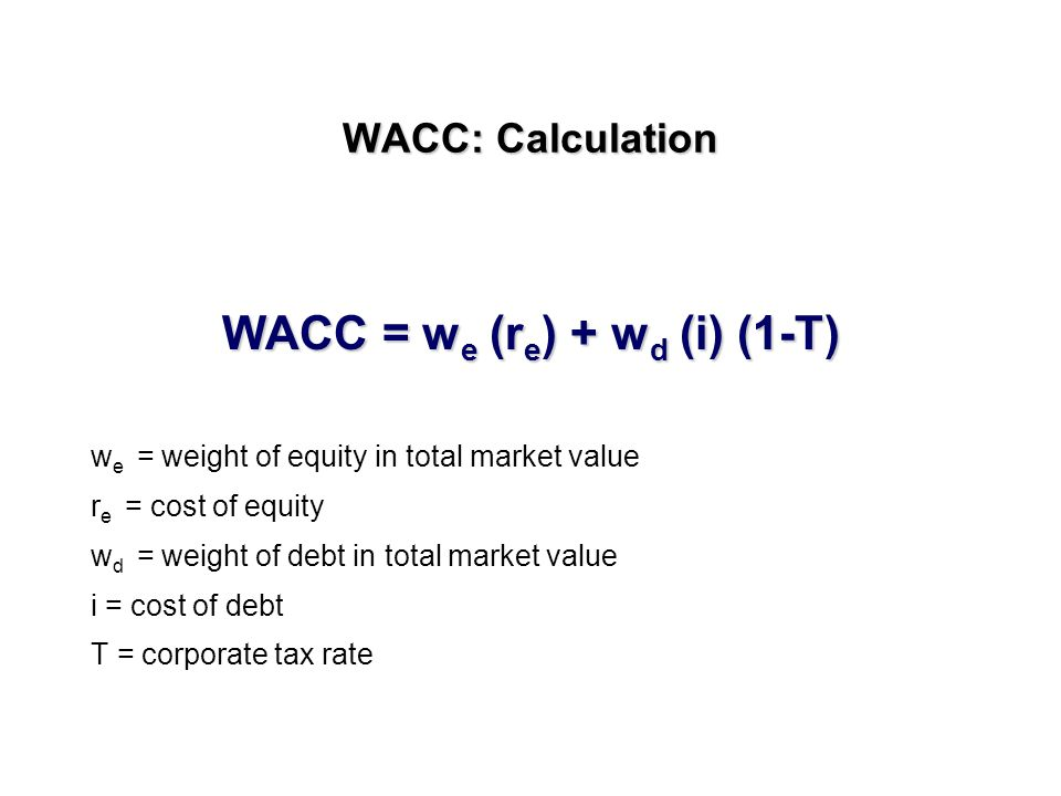 A question of benchmark The Benchmark is the Weighted Average Cost of Capital WACC