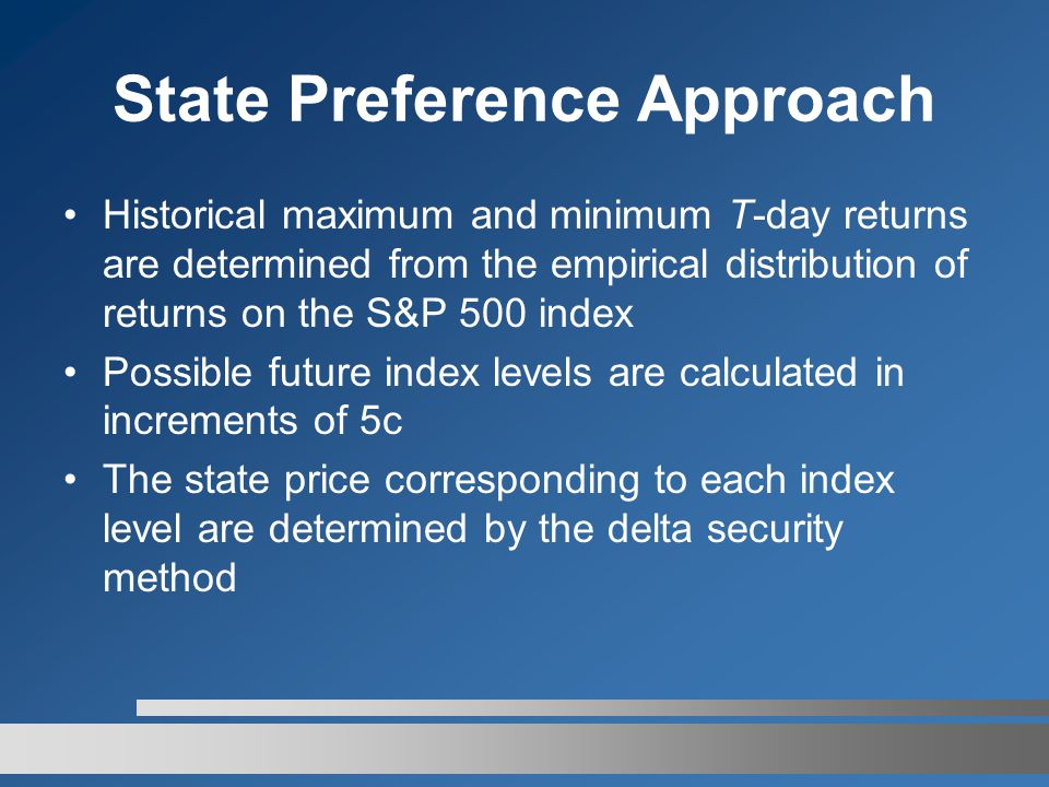 State Preference Approach Historical maximum and minimum T-day returns are determined from the empirical distribution of returns on the S&P 500 index Possible future index levels are calculated in increments of 5c The state price corresponding to each index level are determined by the delta security method