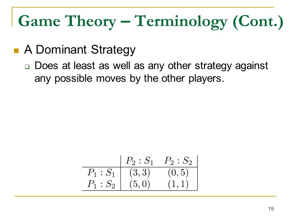 19 Game Theory – Terminology (Cont.) A Dominant Strategy  Does at least as well as any other strategy against any possible moves by the other players