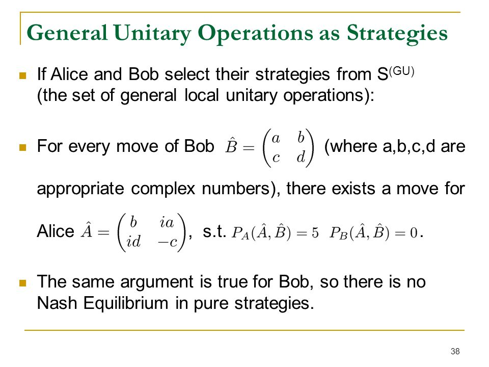 38 If Alice and Bob select their strategies from S (GU) (the set of general local unitary operations): For every move of Bob (where a,b,c,d are approp