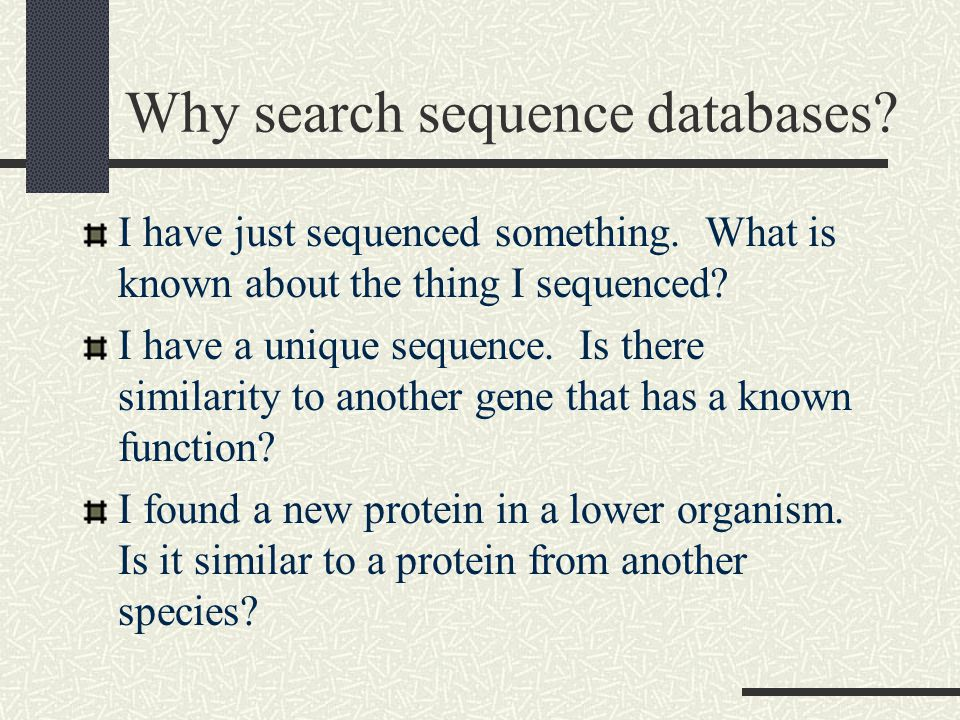 Why search sequence databases. I have just sequenced something.