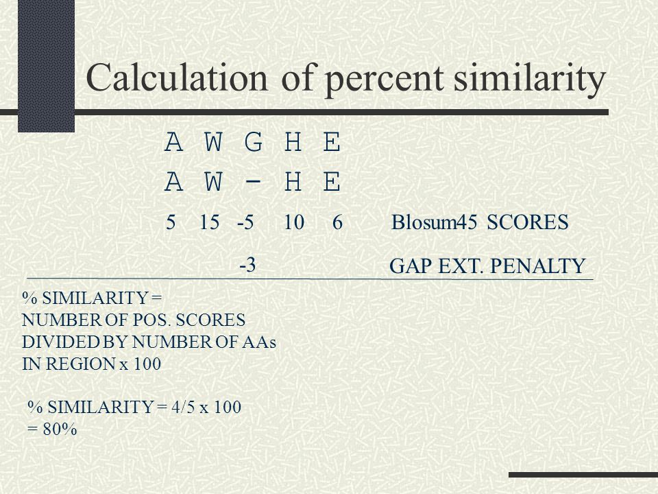 Calculation of percent similarity A W G H E A W - H E Blosum45 SCORES 5 15 -5 10 6 GAP EXT.