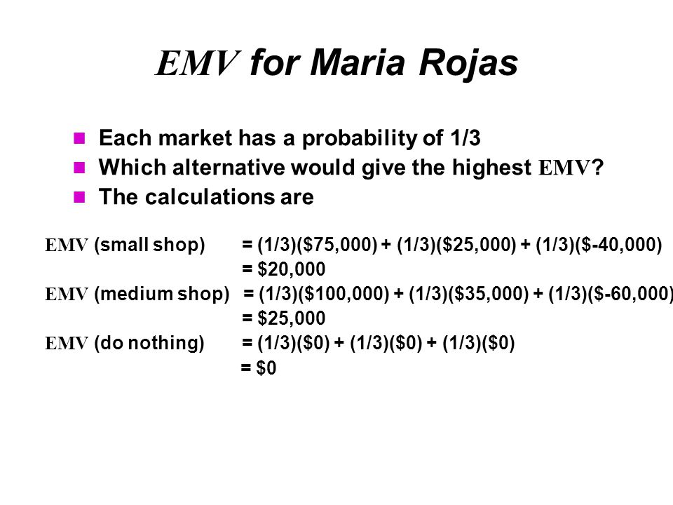 EMV for Maria Rojas Each market has a probability of 1/3 Which alternative would give the highest EMV ? The calculations are EMV (small shop) = (1/3)(