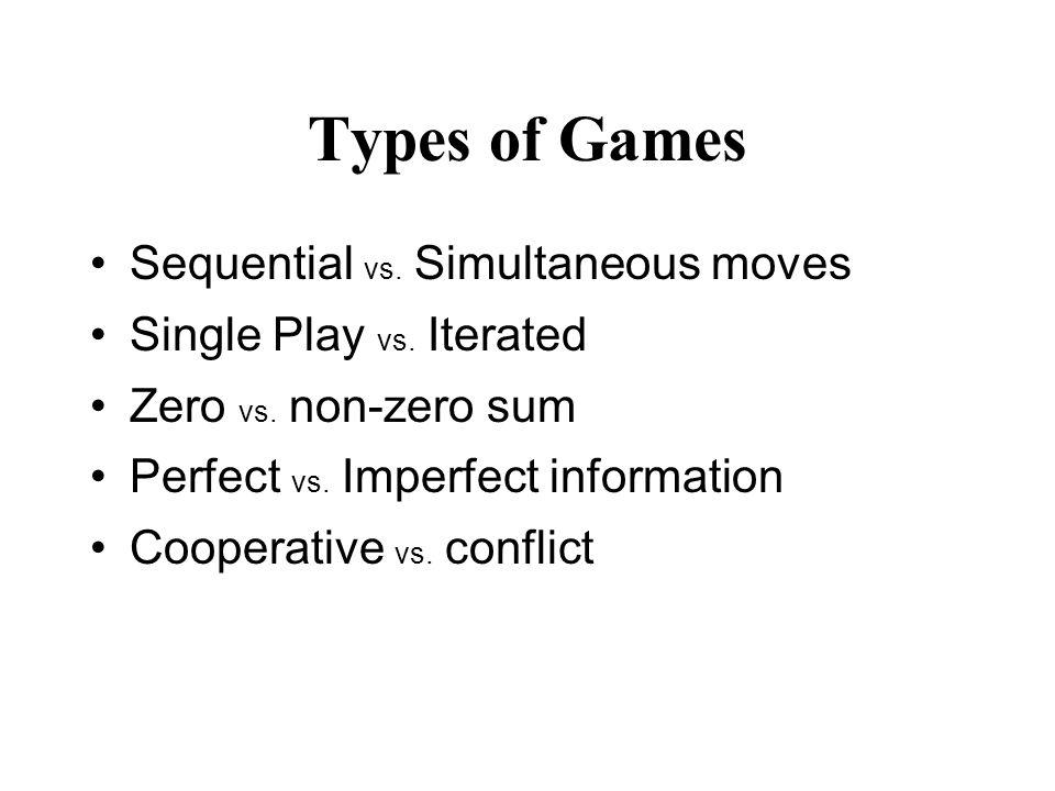 Types of Games Sequential vs. Simultaneous moves Single Play vs. Iterated Zero vs. non-zero sum Perfect vs. Imperfect information Cooperative vs. conf