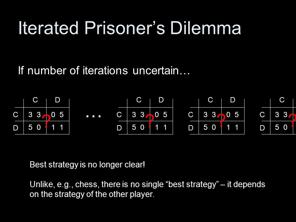 3 CD D C 5 0 0 5 1 3 CD D C 5 0 0 5 1 Iterated Prisoner's Dilemma If number of iterations uncertain… Best strategy is no longer clear.
