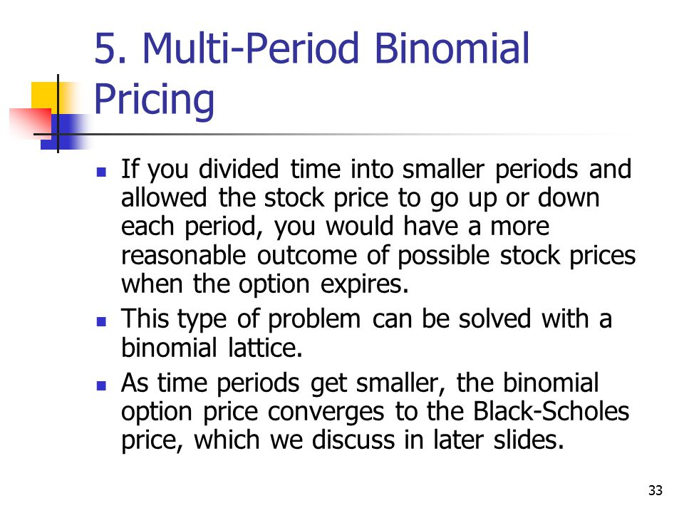33 5. Multi-Period Binomial Pricing If you divided time into smaller periods and allowed the stock price to go up or down each period, you would have