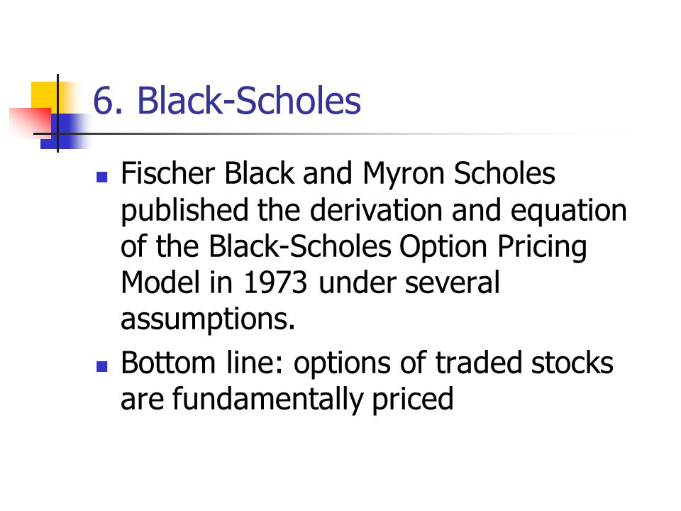 6. Black-Scholes Fischer Black and Myron Scholes published the derivation and equation of the Black-Scholes Option Pricing Model in 1973 under several