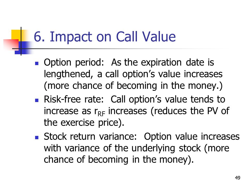 49 6. Impact on Call Value Option period: As the expiration date is lengthened, a call option's value increases (more chance of becoming in the money.