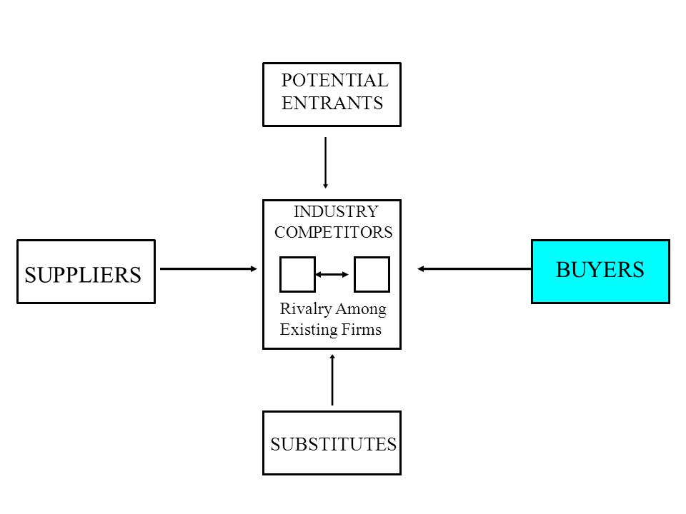 POTENTIAL ENTRANTS SUPPLIERS BUYERS SUBSTITUTES INDUSTRY COMPETITORS Rivalry Among Existing Firms