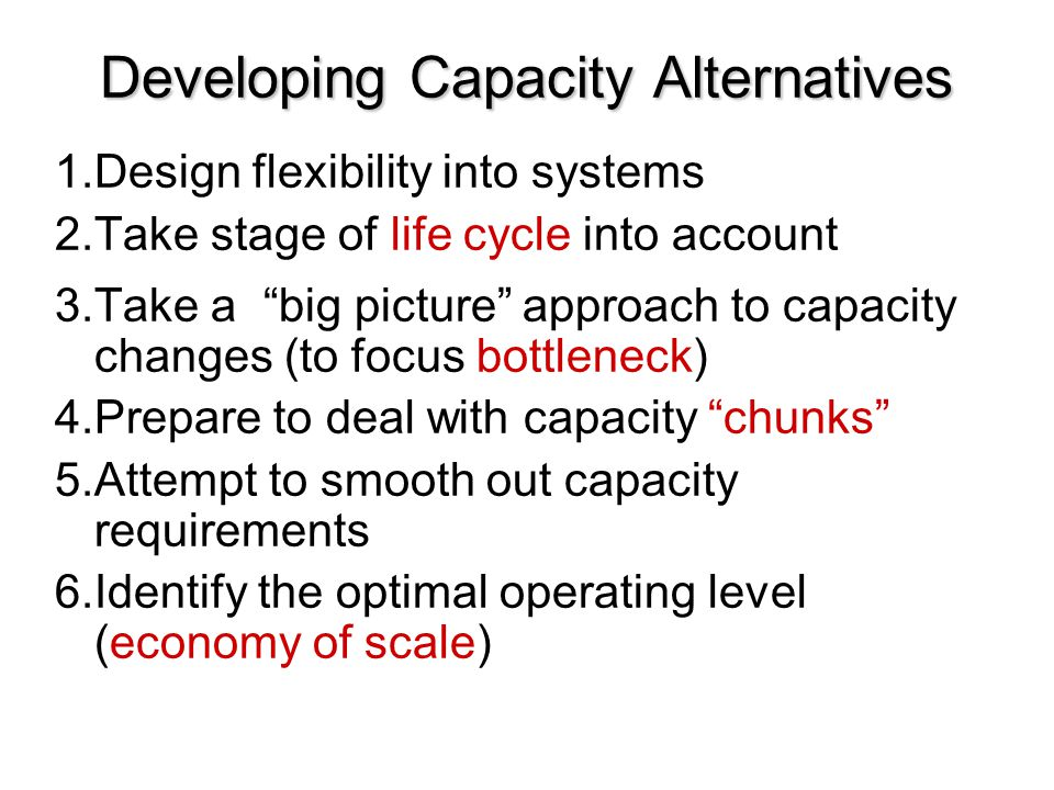 """Developing Capacity Alternatives 1.Design flexibility into systems 2.Take stage of life cycle into account 3.Take a """"big picture"""" approach to capacity"""