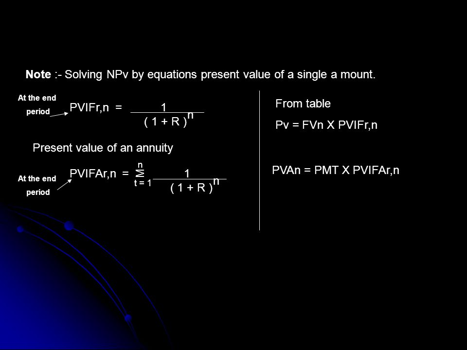Note :- Solving NPv by equations present value of a single a mount.
