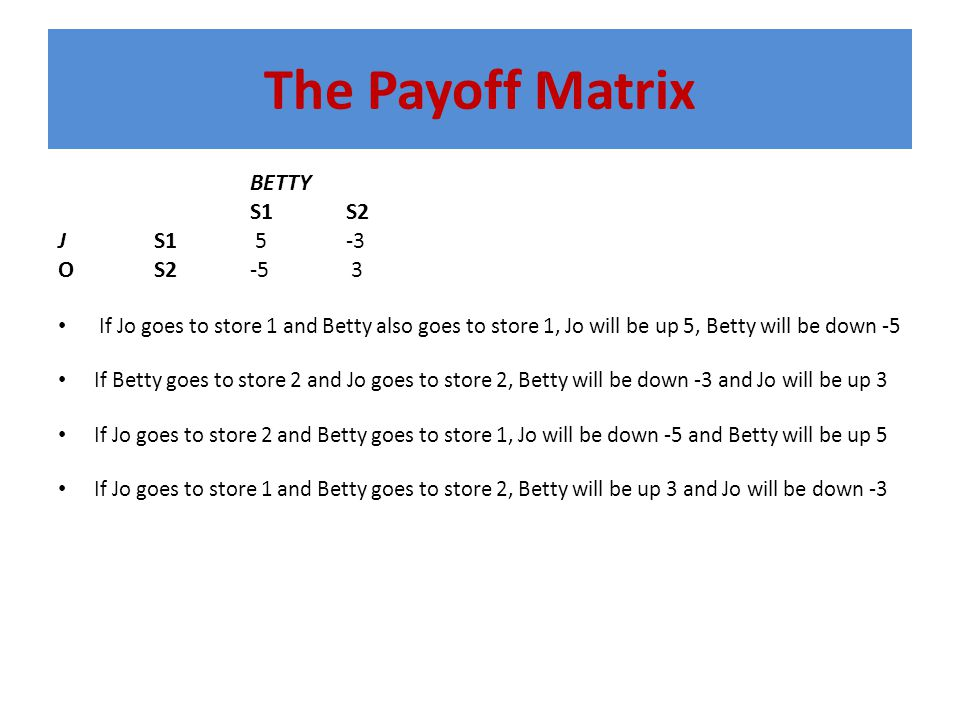 The Payoff Matrix BETTY S1S2 JS1 5-3 OS2-5 3 If Jo goes to store 1 and Betty also goes to store 1, Jo will be up 5, Betty will be down -5 If Betty goes to store 2 and Jo goes to store 2, Betty will be down -3 and Jo will be up 3 If Jo goes to store 2 and Betty goes to store 1, Jo will be down -5 and Betty will be up 5 If Jo goes to store 1 and Betty goes to store 2, Betty will be up 3 and Jo will be down -3