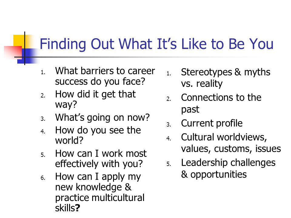 Finding Out What It's Like to Be You 1.What barriers to career success do you face.