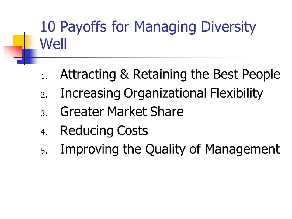 10 Payoffs for Managing Diversity Well 1.Attracting & Retaining the Best People 2.