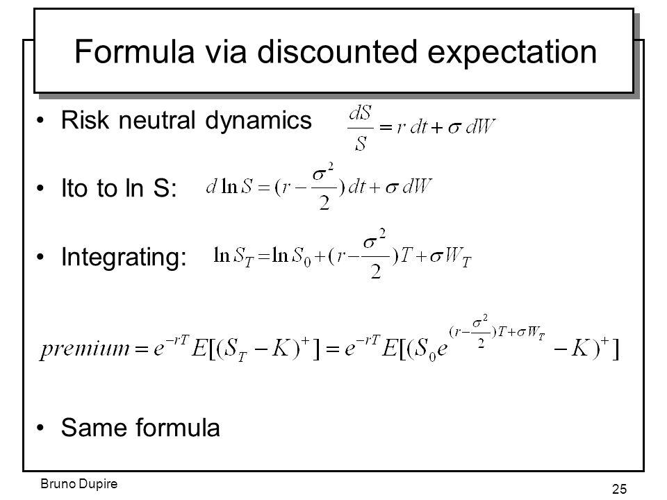 Bruno Dupire 25 Formula via discounted expectation Risk neutral dynamics Ito to ln S: Integrating: Same formula