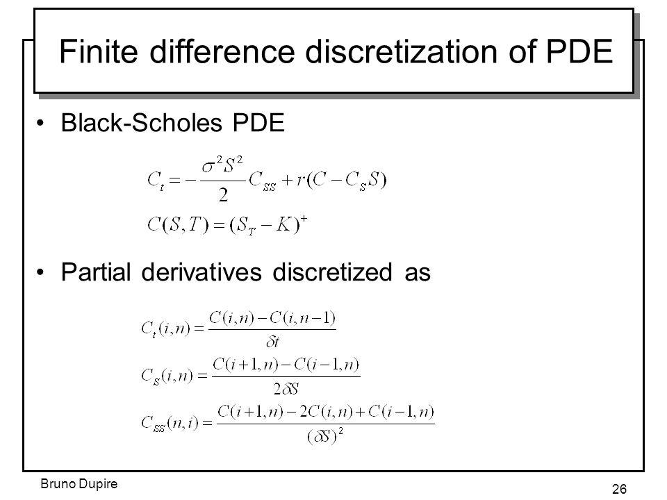 Bruno Dupire 26 Finite difference discretization of PDE Black-Scholes PDE Partial derivatives discretized as
