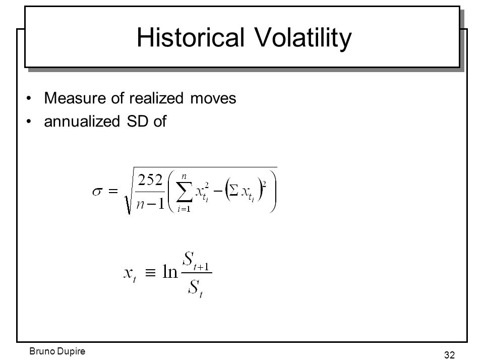 Bruno Dupire 32 Historical Volatility Measure of realized moves annualized SD of