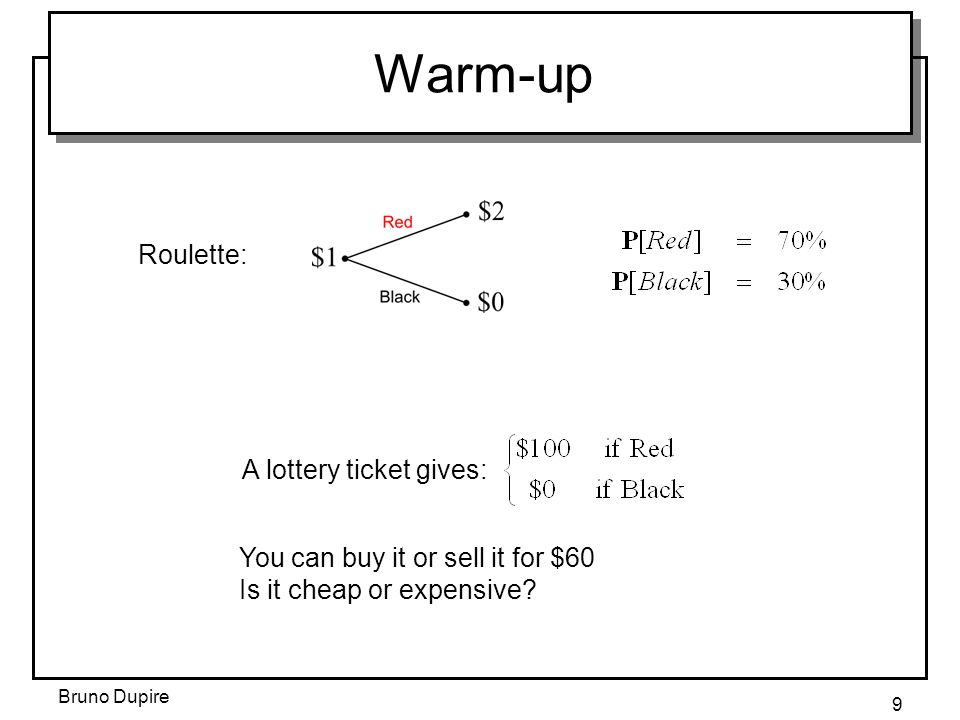 Bruno Dupire 9 Warm-up Roulette: A lottery ticket gives: You can buy it or sell it for $60 Is it cheap or expensive?