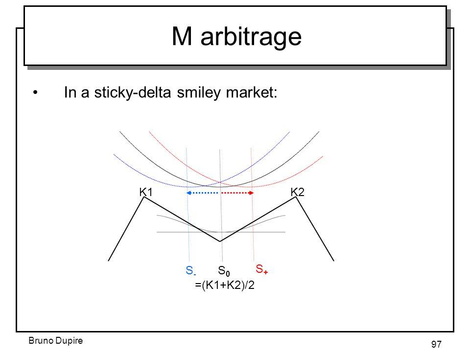 Bruno Dupire 97 M arbitrage K1K2 S0S0 S+S+ S-S- =(K1+K2)/2 In a sticky-delta smiley market:
