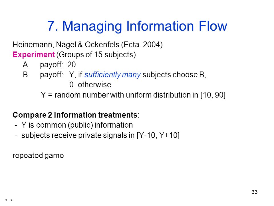 33 7. Managing Information Flow Heinemann, Nagel & Ockenfels (Ecta.