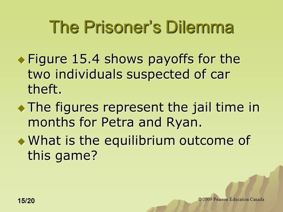 © 2009 Pearson Education Canada 15/20 The Prisoner's Dilemma  Figure 15.4 shows payoffs for the two individuals suspected of car theft.
