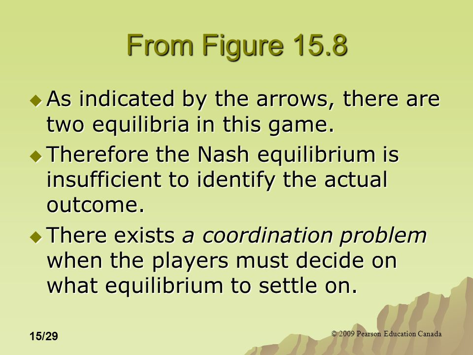 © 2009 Pearson Education Canada 15/29 From Figure 15.8  As indicated by the arrows, there are two equilibria in this game.