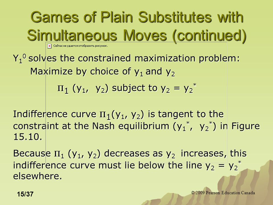 © 2009 Pearson Education Canada 15/37 Games of Plain Substitutes with Simultaneous Moves (continued) Y 1 0 solves the constrained maximization problem: Maximize by choice of y 1 and y 2 п 1 (y 1, y 2 ) subject to y 2 = y 2 * Indifference curve п 1 (y 1, y 2 ) is tangent to the constraint at the Nash equilibrium (y 1 *, y 2 * ) in Figure 15.10.