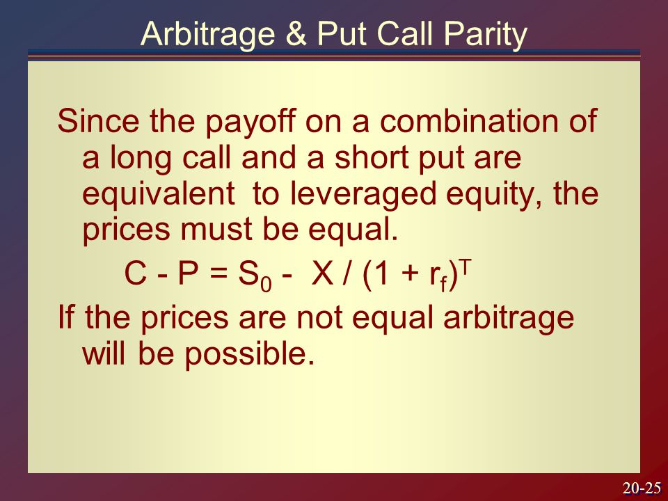 20-25 Since the payoff on a combination of a long call and a short put are equivalent to leveraged equity, the prices must be equal.