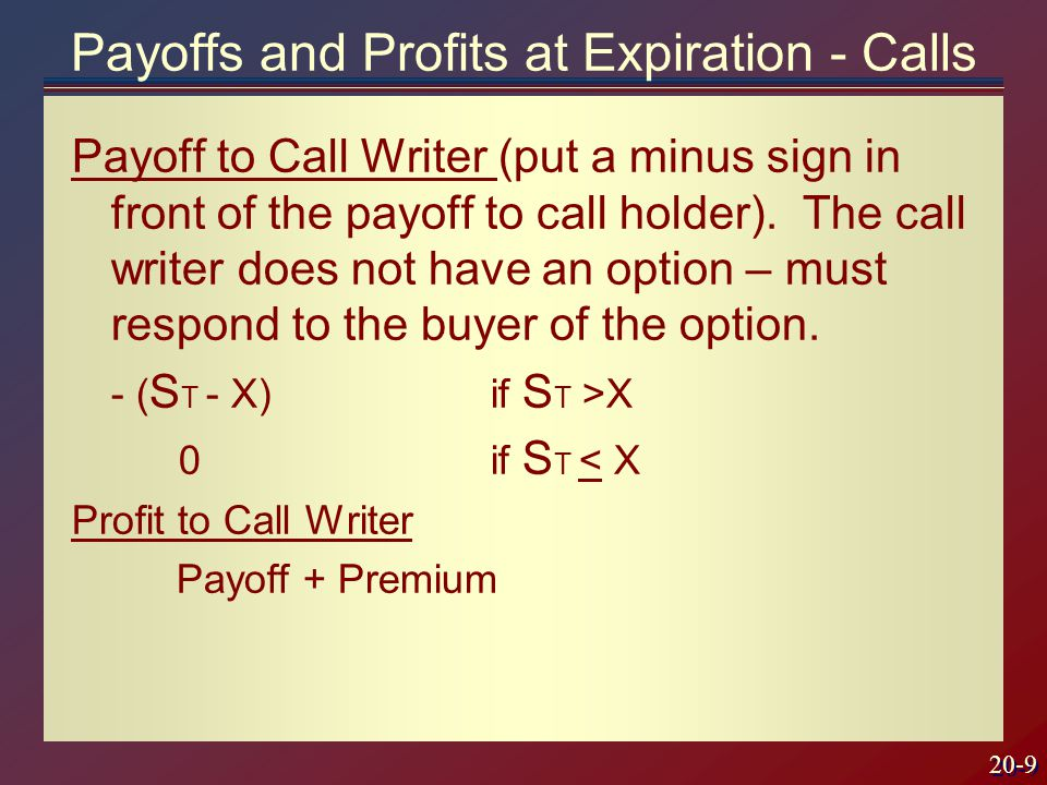20-9 Payoff to Call Writer (put a minus sign in front of the payoff to call holder).