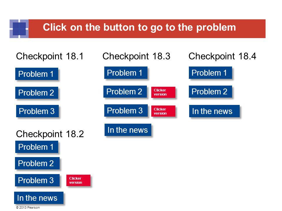 Click on the button to go to the problem © 2013 Pearson Problem 1 Problem 2 Problem 1 Problem 2 Problem 3 Problem 1 Problem 2 Problem 1 Problem 3 Checkpoint 18.1Checkpoint 18.3Checkpoint 18.4 Checkpoint 18.2 Clicker version Clicker version Clicker version Clicker version Clicker version Clicker version Problem 3 In the news