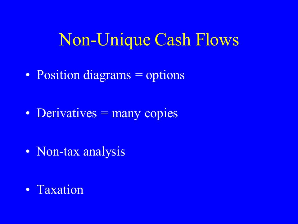 Non-Unique Cash Flows Position diagrams = options Derivatives = many copies Non-tax analysis Taxation