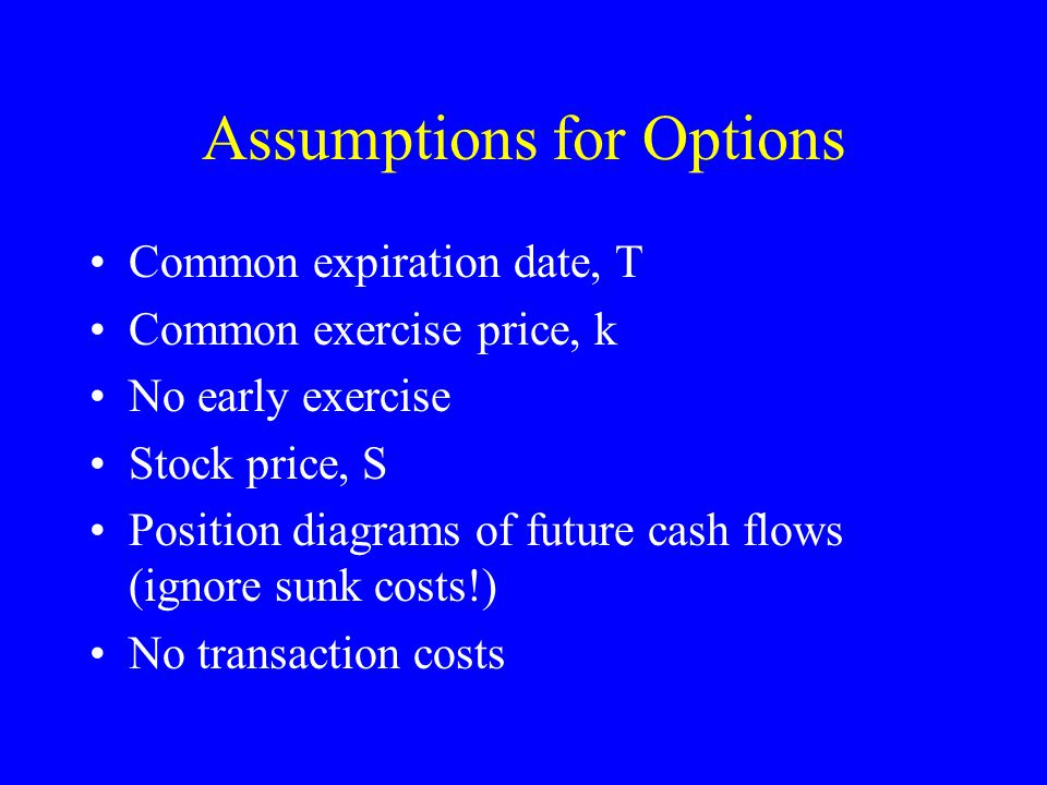 Assumptions for Options Common expiration date, T Common exercise price, k No early exercise Stock price, S Position diagrams of future cash flows (ignore sunk costs!) No transaction costs