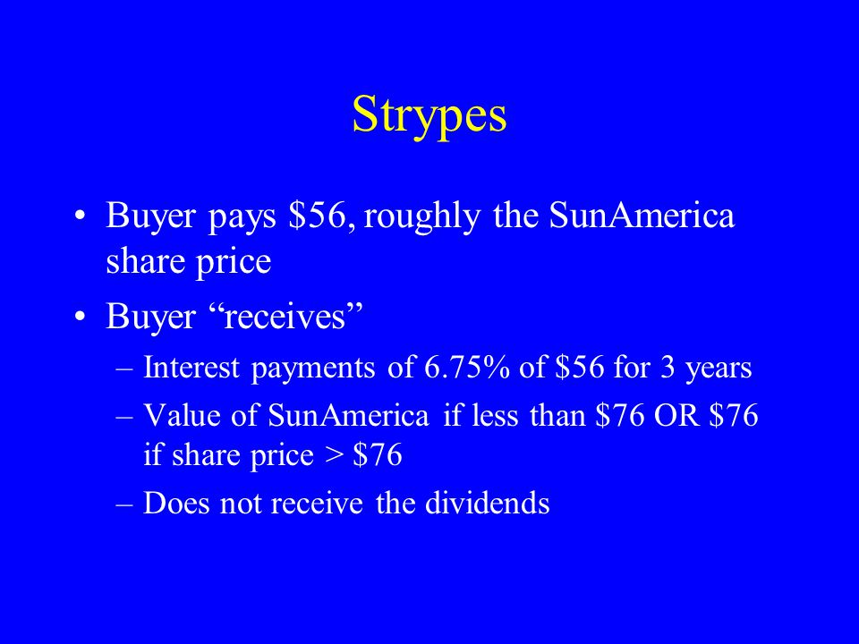 Strypes Buyer pays $56, roughly the SunAmerica share price Buyer receives –Interest payments of 6.75% of $56 for 3 years –Value of SunAmerica if less than $76 OR $76 if share price > $76 –Does not receive the dividends