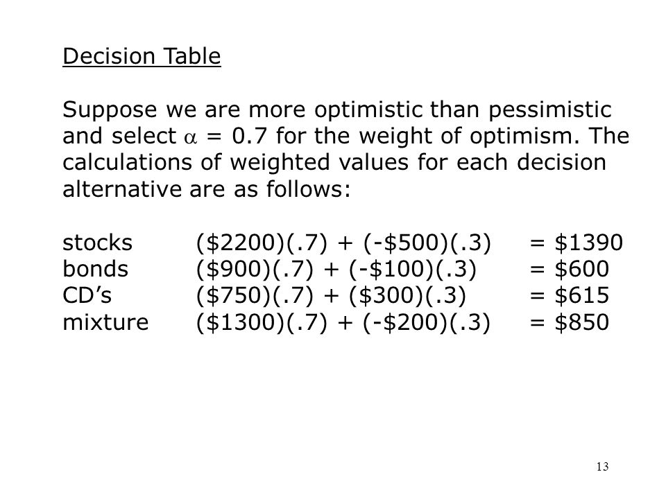 13 Decision Table Suppose we are more optimistic than pessimistic and select  = 0.7 for the weight of optimism.