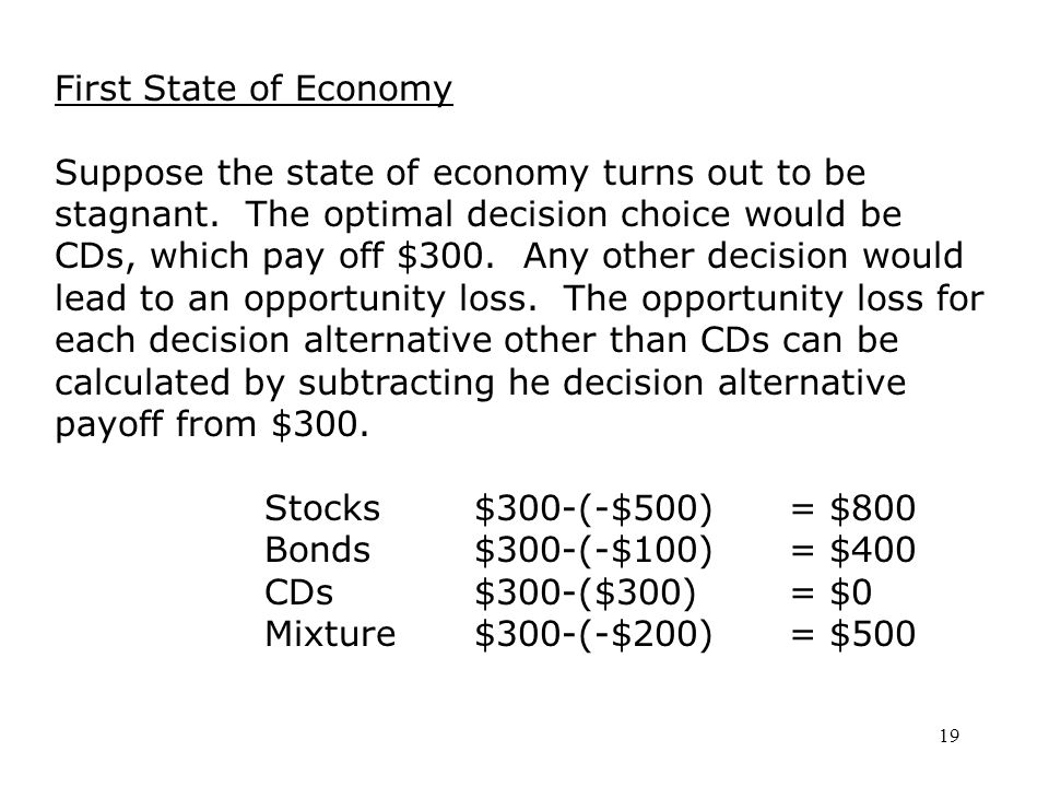 19 First State of Economy Suppose the state of economy turns out to be stagnant.