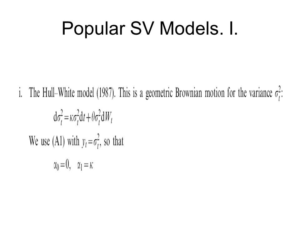 Popular SV Models. I.