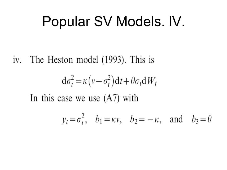 Popular SV Models. IV.