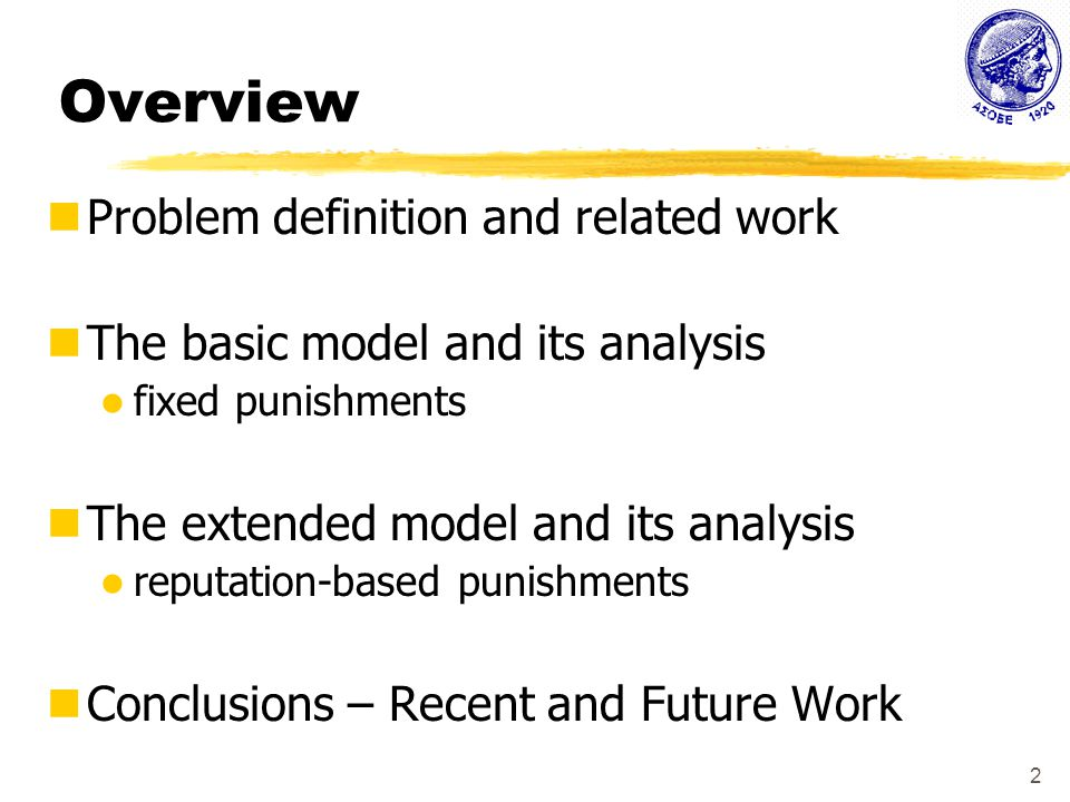 23 Reputation-based Punishments Derived conditions for disagreement punishments that enforce the truthful-rating equilibrium Outline of Proof  Necessary and sufficient condition: A single-round deviation from truthful rating at round t is not beneficial.