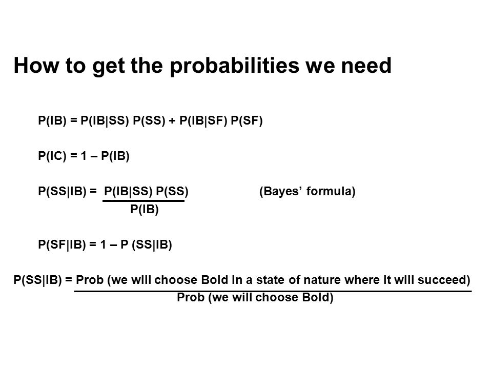 How to get the probabilities we need P(IB) = P(IB|SS) P(SS) + P(IB|SF) P(SF) P(IC) = 1 – P(IB) P(SS|IB) = P(IB|SS) P(SS)(Bayes' formula) P(IB) P(SF|IB) = 1 – P (SS|IB) P(SS|IB) = Prob (we will choose Bold in a state of nature where it will succeed) Prob (we will choose Bold)