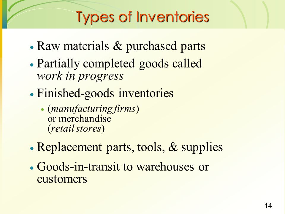 14 Types of Inventories  Raw materials & purchased parts  Partially completed goods called work in progress  Finished-goods inventories  (manufact