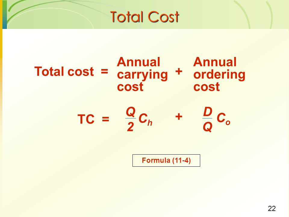 22 Total Cost Annual carrying cost Annual ordering cost Total cost =+ Q 2 ChCh D Q CoCo TC = + Formula (11-4)