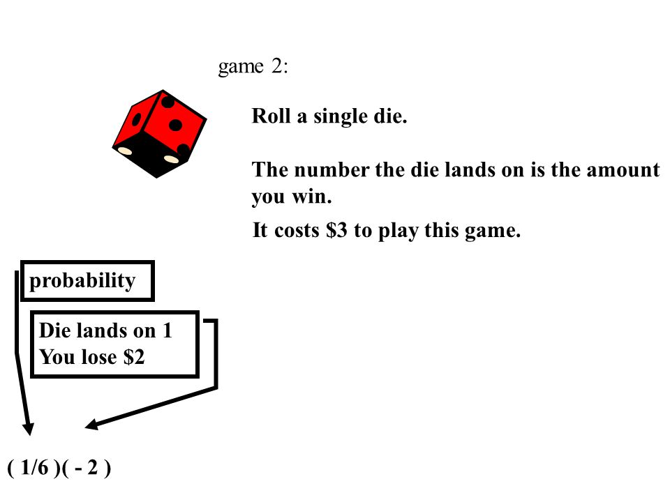 game 2: Roll a single die. The number the die lands on is the amount you win. It costs $3 to play this game.